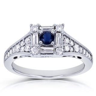 Annello by Kobelli 10k White Gold 1/2ct TCW Blue Sapphire and Diamond Baguette Halo Engagement Ring (HI, I2)