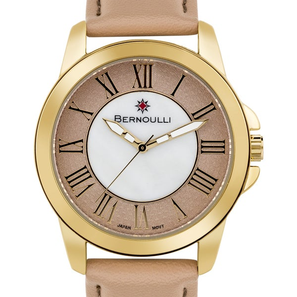 Women's 'Bernoulli' Taupe Mother of Pearl Roman Numeral Stainless Steel and Leather Strap Watch 39mm