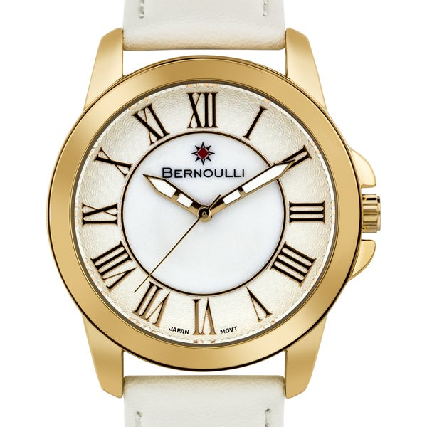 Women's 'Bernoulli' White Mother of Pearl Roman Numeral Stainless Steel and Leather Strap Watch 39mm