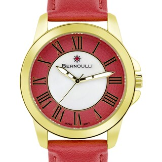 Women's 'Bernoulli' Red Mother of Pearl Roman Numeral Stainless Steel and Leather Strap Watch 39mm