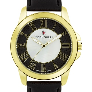 Women's 'Bernoulli' Roman Numeral Mother of Pearl Dial Stainless Steel and Black Leather Strap Watch 39mm