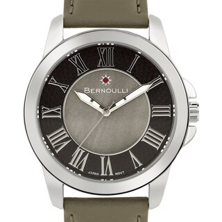 Women's 'Bernoulli' Grey Mother of Pearl Roman Numeral Stainless Steel and Leather Strap Watch 39mm