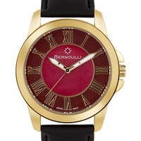Women's 'Bernoulli' Red Mother of Pearl Roman Numeral Stainless Steel and Black Leather Strap Watch 39mm