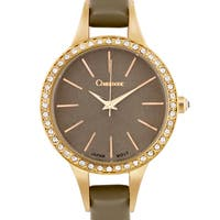 Chaumont Kiri Women's Gold-Tone and Coffee Minimalist Dial Crystal Accented Thin Strap Watch 36mm