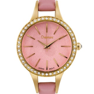 Chaumont Kiri Women's Gold-Tone and Pink Minimalist Dial Crystal Accented Thin Strap Watch 36mm