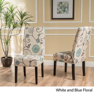 T-stitch Floral Fabric Dining Chair (Set of 2) by Christopher Knight Home & Blue Kitchen \u0026 Dining Room Chairs For Less | Overstock