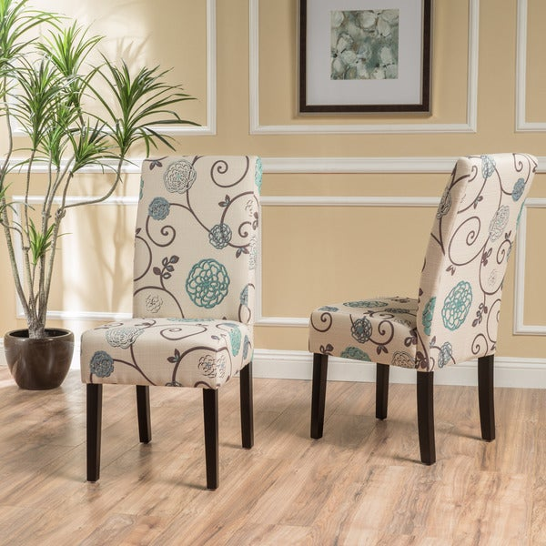 Dining Room Chairs Fabric: Shop T-stitch Floral Fabric Dining Chair (Set Of 2) By