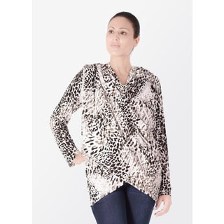 Bluberry Women's Animal Print Cotton and Polyester Kimono Top