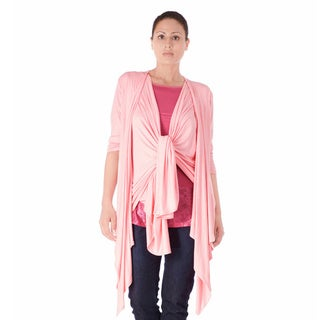 Bluberry Women's Pink Cotton and Polyester Kimono Top
