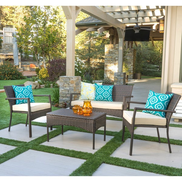 Cancun Outdoor 4-pc. Cushioned Wicker Chat Set by Christopher Knight Home. Opens flyout.