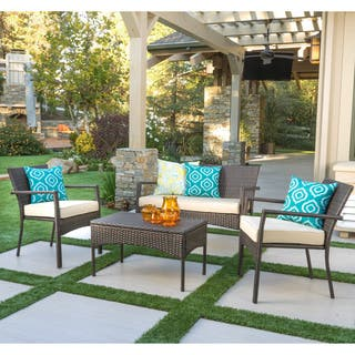 Cancun Outdoor 4-piece Wicker Chat Set with Cushions by Christopher Knight Home|https://ak1.ostkcdn.com/images/products/13808389/P20457036.jpg?impolicy=medium