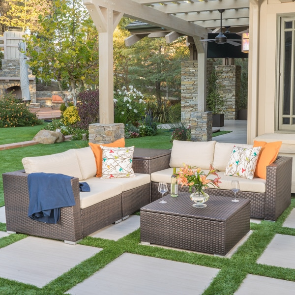 Shop Santa Rosa Outdoor 6-piece Wicker Sectional Sofa With