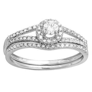 10k Gold 1/2ct TDW Round Diamond Bridal Halo Style Engagement Ring Set (H-I, I1-I2)