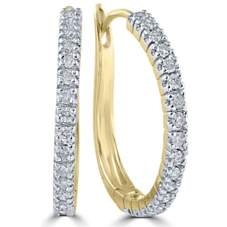 10k Yellow Gold 1/2 ct TDW Diamond Hoops