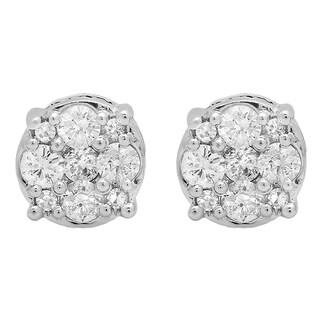 14k White Gold 1/2ct TDW Round-cut White Diamond Cluster Stud Earrings (I-J, I2-I3)