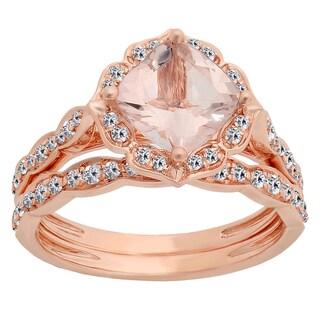 14k Rose Gold 2 1/10ct TW Cushion-cut Morganite and Round White Diamond Engagement Ring Set(I-J, I1-I2)
