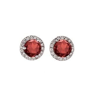 10k White Gold 1/2ct TW Garnet and Diamond Halo Style Stud Earrings (I-J, I2-I3)