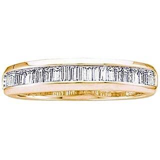 14k Yellow Gold 1/6ct TDW Baguette-cut White Diamond Fashion Wedding Band (I-J, I1-I2)