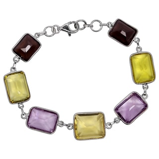 Orchid Jewelry 925 Sterling Silver 40 3/4 Carat Amethyst and Quartz Bracelet