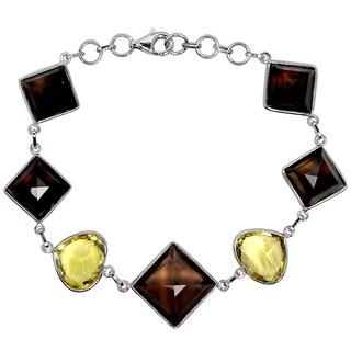 Orchid Jewelry 925 Sterling Silver 48 6/7 Carat Smoky Quartz and Lemon Quartz Bracelet