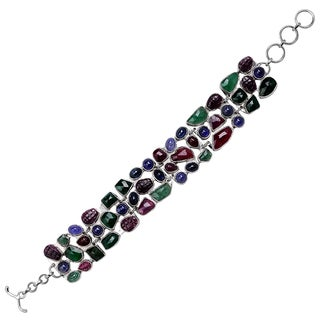 Orchid Jewelry 925 Sterling Silver 64 4/9 Carat Emerald , Ruby, Sapphire and Tanzanite Bracelet