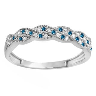 10k White Gold 1/4ct TDW White and Blue Diamond Anniversary Wedding Stackable Band (H-I, I1-I2)