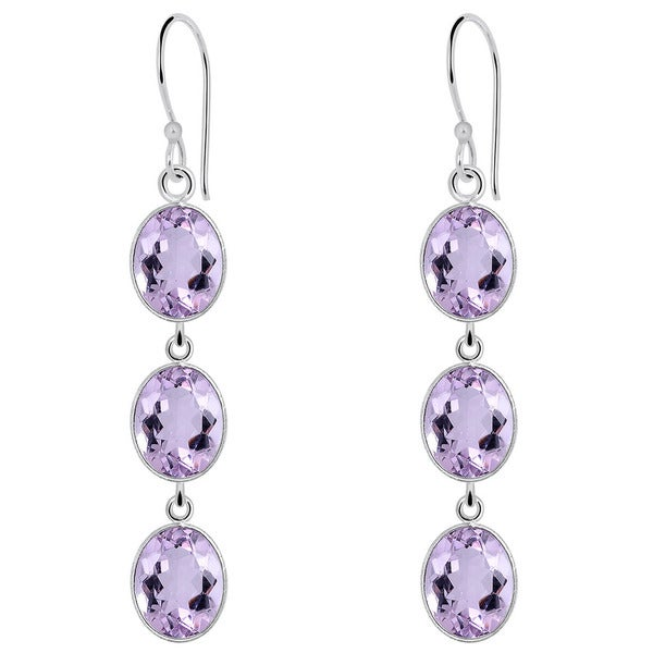 Orchid Jewelry 925 Sterling Silver 10 Carat Amethyst Drop Earrings