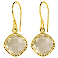 Orchid Jewelry 14k Yellow Gold Overlay Sterling Silver 16 Carat Citrine Earrings