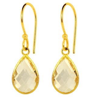 Orchid Jewelry 14k Yellow Gold Over Sterling Silver 5 Carat Citrine Teardrop Earrings