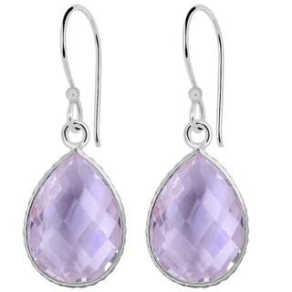 Orchid Jewelry 925 Sterling Silver Carat Pink Amethyst Teardrop Earrings