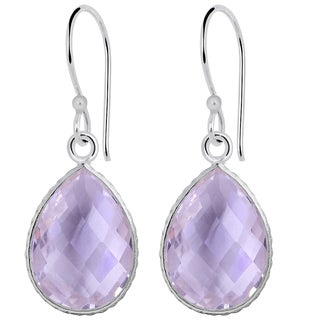 Orchid Jewelry 925 Sterling Silver Carat Pink Amethyst Teardrop Earrings