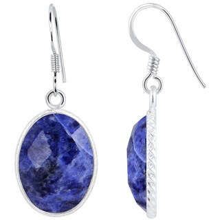 Orchid Jewelry 925 Sterling Silver 11 3/5 Carat Sodalite Oval Shape Earrings (Option: Sodalite)