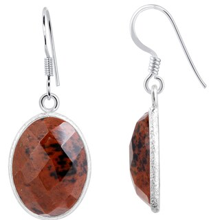 15 2/3 Ct Mahogany Obsidian 925 Sterling Silver Earrings by Orchid Jewelry