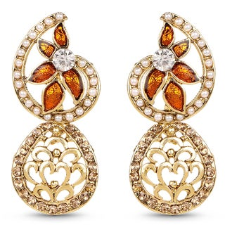 Liliana Bella Goldplated Floral Dangle Earrings With Pearl And Orange Crystal
