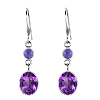 Orchid Jewelry 925 Sterling Silver 3 2/3 Carat Amethyst and Tanzanite Drop Earrings