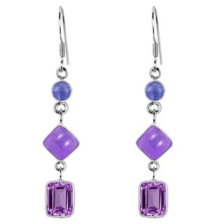 Orchid Jewelry 925 Sterling Silver 8 7/9 Carat Amethyst and Tanzanite Drop Earrings