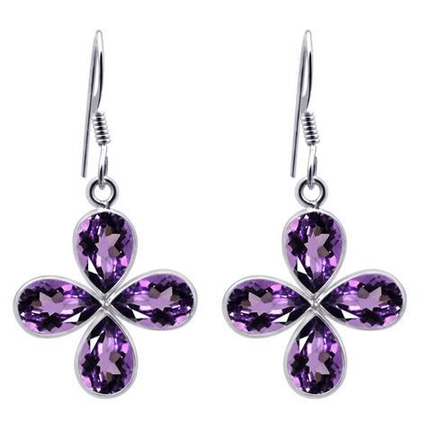 Amethyst Sterling Silver Pear Dangle Earrings by Orchid Jewelry