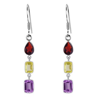 Orchid Jewelry 925 Sterling Silver 7 6/7 Carat Amethyst, Citrine and Garnet Dangle Earrings