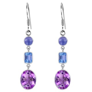 Orchid Jewelry 925 Sterling Silver 12 Carat Amethyst, Blue Topaz & Tanzanite Dangle Earrings