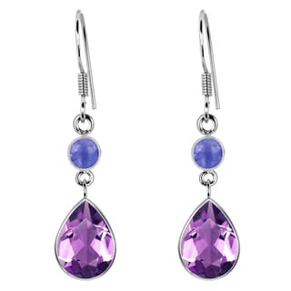 Orchid Jewelry Sterling Silver 4 1/4 Carat Amethyst & Tanzanite Dangle Hook Earrings