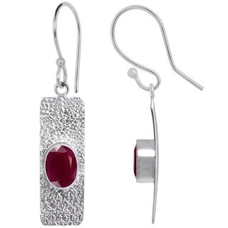 Orchid Jewelry Silver Overlay 3 1/4 Carat Ruby Fashion Earrings