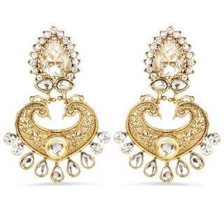 Liliana Bella Goldplated Handmade Chandelier Earrings With White Crystal