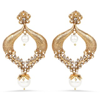 Liliana Bella Goldplated Pearl Drop Handmade Dangle Earrings With White Crystal