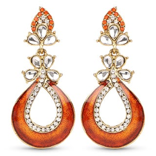 Liliana Bella Goldplated Dangle Earrings With Orange And White Crystal