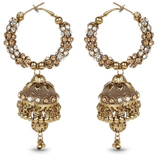 Liliana Bella Goldplated Hoop Style Jhumki Earrings With Yellow & White Crystal