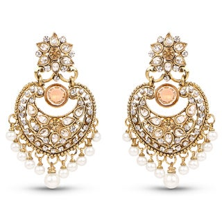 Liliana Bella Goldplated Chandelier Earrings With Pearl And Yellow Crystal