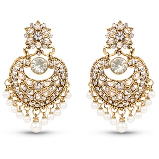 Liliana Bella Goldplated Chandelier Earrings With Pearl And White Crystal