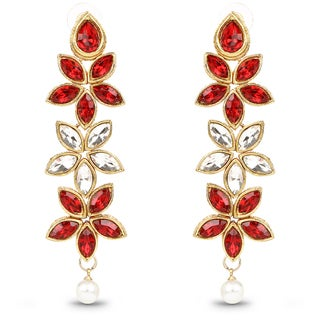 Liliana Bella Red And White Floral Pearl Drop Goldplated Dangling Earrings