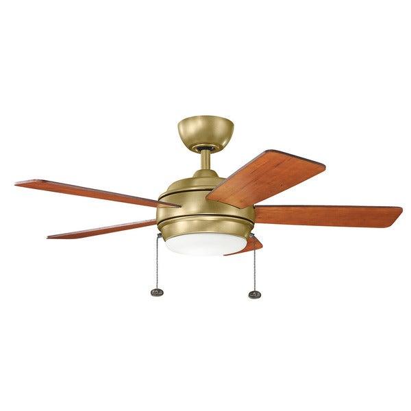 Kichler lighting starkk collection 42 inch natural brass led ceiling fan