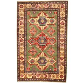 Herat Oriental Afghan Hand-knotted Vegetable Dye Kazak Wool Rug (4' x 6'3)